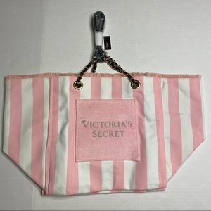 NWT Victoria's Secret Pink Striped Tote Bag Beach